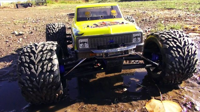 RC ADVENTURES - WHEELS UP! Yellow CHEVY C10 Traxxas Brushless E-Revo 1/10th Scale Monster Truck