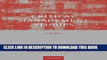 [EBOOK] DOWNLOAD Critical Management Studies: A Reader (Oxford Management Readers) GET NOW