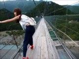 谷瀬のつり橋を完全にわたり切るまでの一部始終!