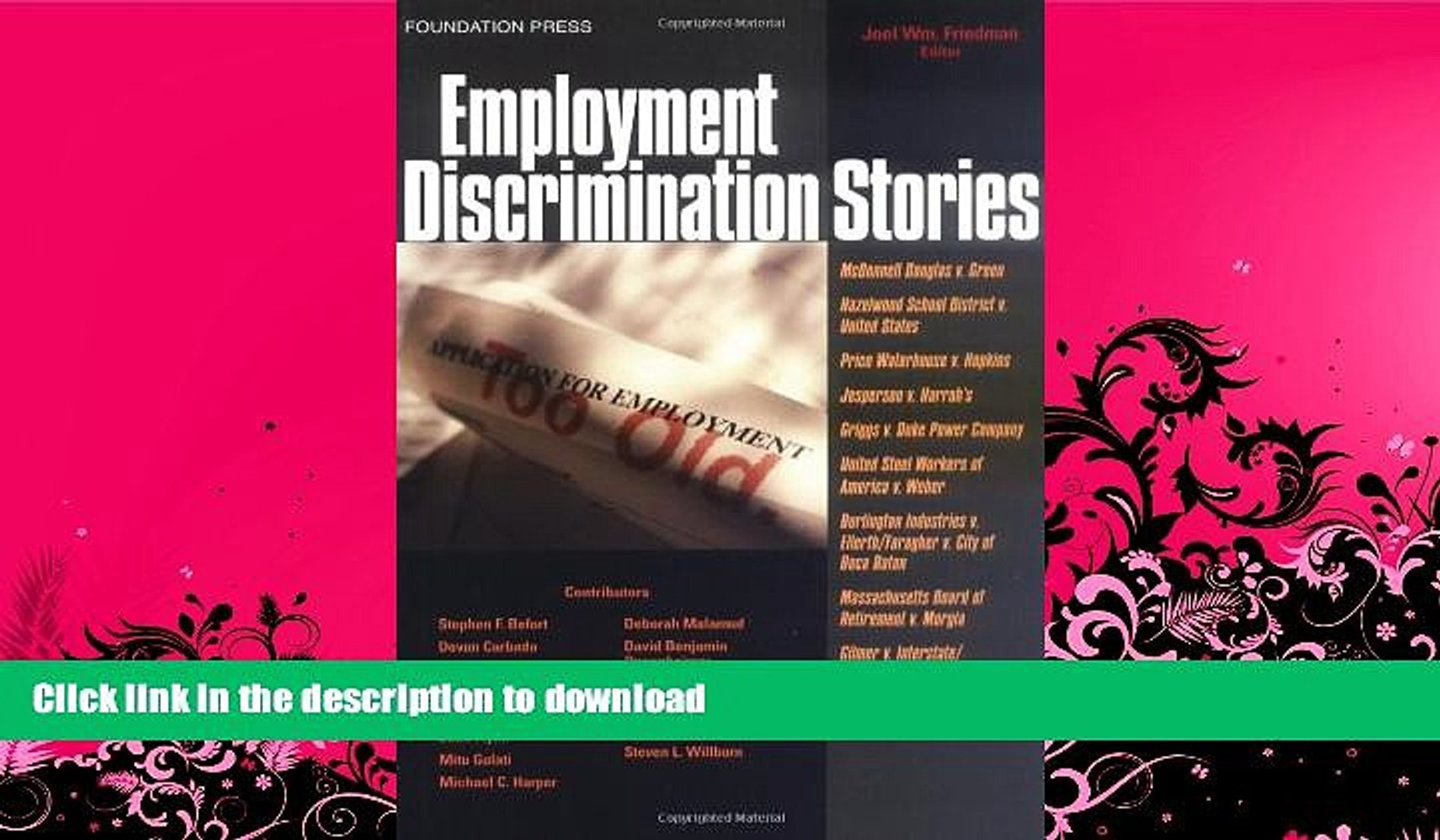FAVORITE BOOK  Employment Discrimination Stories (Law Stories)  BOOK ONLINE