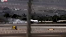 A private jet is forced to land without using its wheels in Palm Springs, California.