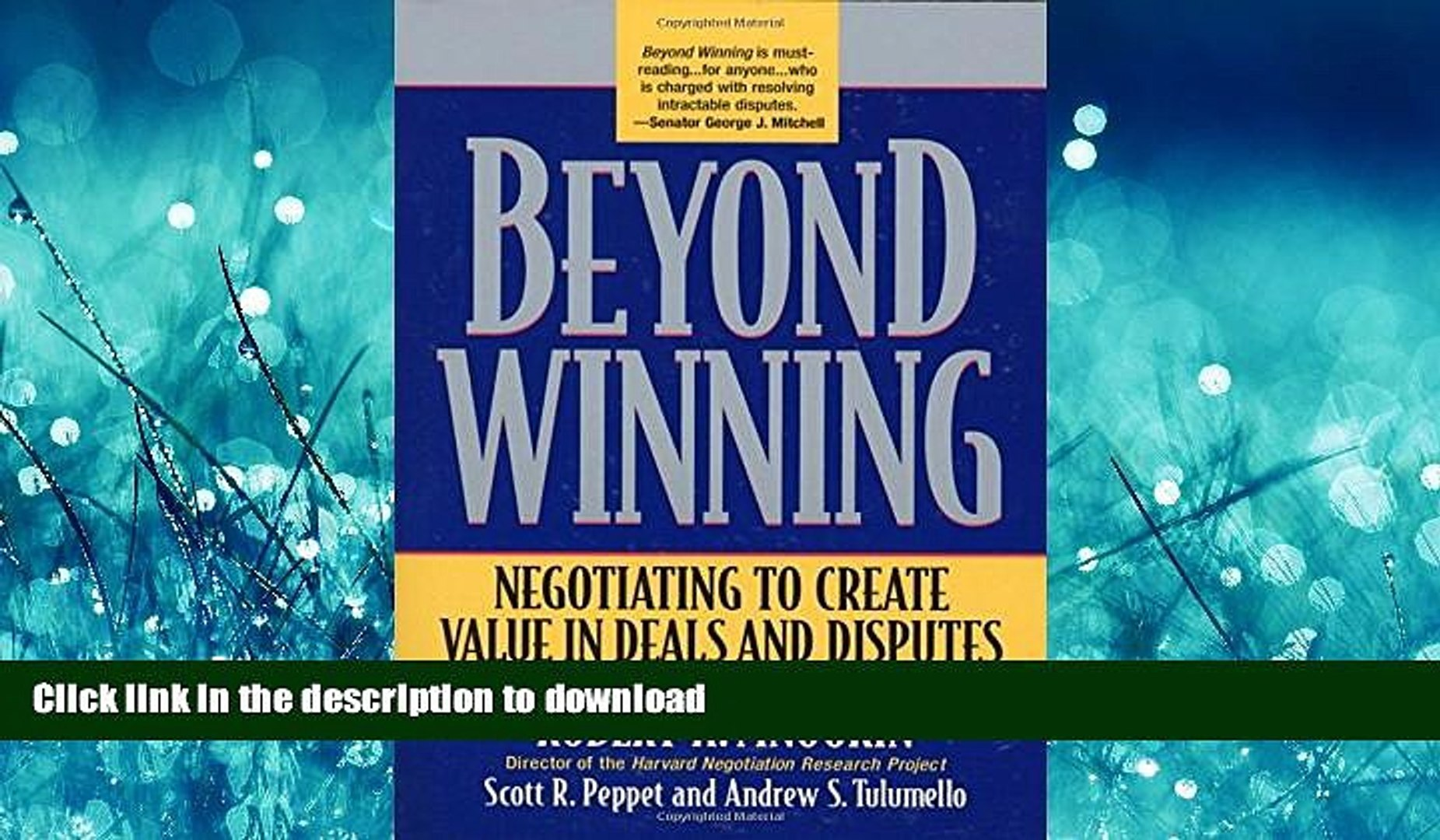 Beyond Winning Negotiating to Create Value in Deals and Disputes