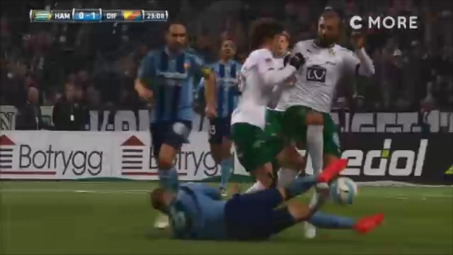 Alexander Faltsetas Makes Incredible Double Slide tackle On Two Hammarby's Players!