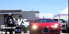 Kawasaki Ninja H2r vs Bugatti Veyron Drag Race 2016 Lamborghini Aventador vs F16 Fighting Falcon