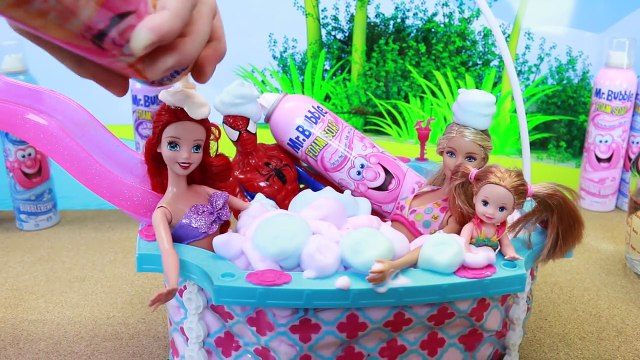 Barbie FOAM BATH Surprises in Giant Barbie Swimming Pool Mr Bubble Bath Surprise Toys DisneyCarToys