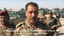 Les forces irakiennes face aux tirs et aux véhicules piégés
