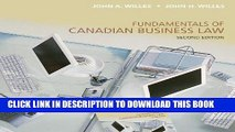 [Free Read] Fundamentals of Canadian Business Law, Second Edition Full Online