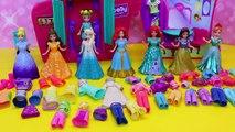 DisneyCarToys Frozen Elsa & Polly Pocket Kids Toys Disney Princess Magic Clip Dolls Dress Up Booth