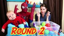 Superheroes VS Villains Spiderman IRL & Catwoman Spidey Baby Surprise Eggs Challenge KidCity Collab