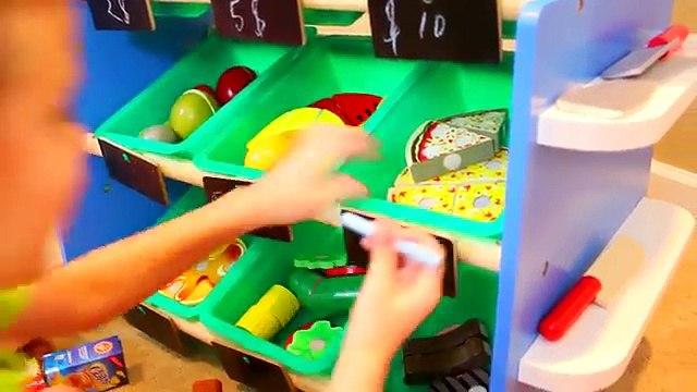 GROCERY STORE FOOD STAND & Ice Cream Lemonade Cart Shopping + Wooden Food Toys by DisneyCarToys