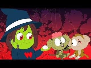страшных пять маленьких обезьян   Helloween мультфильм   страшных видео   Scary Five Little Monkeys