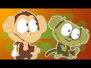 Cinq petits singes | Effrayant Cartoon pour enfant | Popular Comptine | Five Little Monkeys