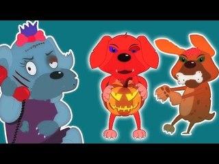 Cinco pequeños cachorros   Cartoon para los niños   video educativo   Scary la poesía infantil