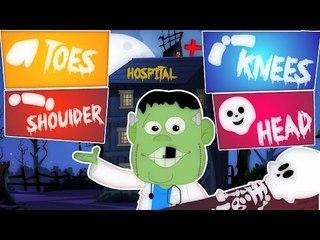 Cabeça ombro joelhos e dedos do pé | Cartoon para crianças | assustador Rhyme | Head Shoulder