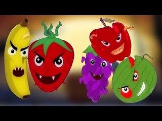 đáng sợ trái cây ngón tay Gia đình   ươm vần   video giáo dục   Nursery Rhyme   Fruits Finger Family