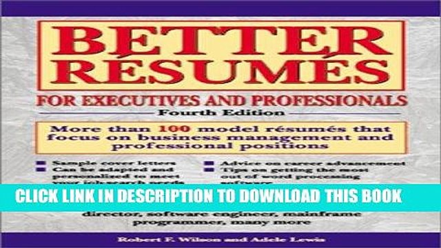 [PDF] Better Resumes foe Executives and Professionals (Barron s Better Resumes for Executives)