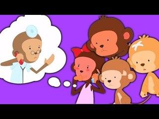 Five Little Monkeys Rhyme | Năm con khỉ nhỏ nhảy trên giường | vần điệu trẻ cho trẻ em