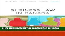 [Free Read] Business Law in Canada, Tenth Canadian Edition Plus MyBusLawLab with Pearson eText --