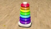 Apprendre les couleurs et chiffres en français. Jouets pour bébé : pyramide. Learn French.