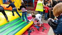 Children Playing on The Big Inflatable Trampoline!