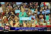 Hillary Clinton celebró su cumpleaños haciendo campaña en Florida