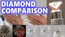 Diamond Size Comparison Color Clarity 2 Carat 1 Ct Ring on Finger Hand 3 .5 1/2 Cut Price vvs1 vvs2 women vs1 vs2 si gia Affordable Cheap