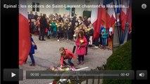 Epinal : les ecoliers de Saint-Laurent chantent la Marseillaise a l'occasion du...