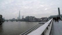 London. A Walk from St. Paul's Cathedral to The Tate Modern Gallery Across the River
