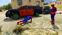 SHERIFF Spiderman & POLICE Car! FUN Color cars cartoon with Nursery Rhymes kids songs + action
