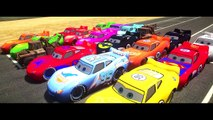 Disney Pixar Cars Lightning Mcqueen race with Rayo Dinoco Spiderman Macqueen Mater Batman Hulk