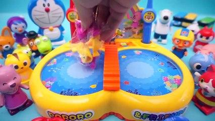 Pororo fishing play toys animation robocar poli fish fishbowl toys