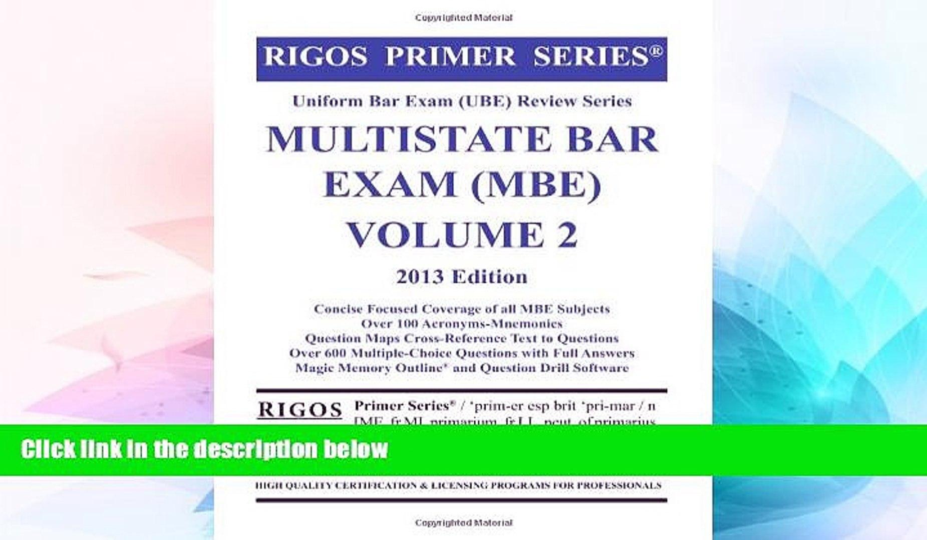 Must Have Rigos Primer Series Uniform Bar Exam (UBE) Review Series MBE Bar  Exam Volume 2 Premium