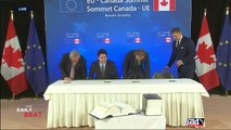 EU, Canada sign contentious free trade agreement in Brussels