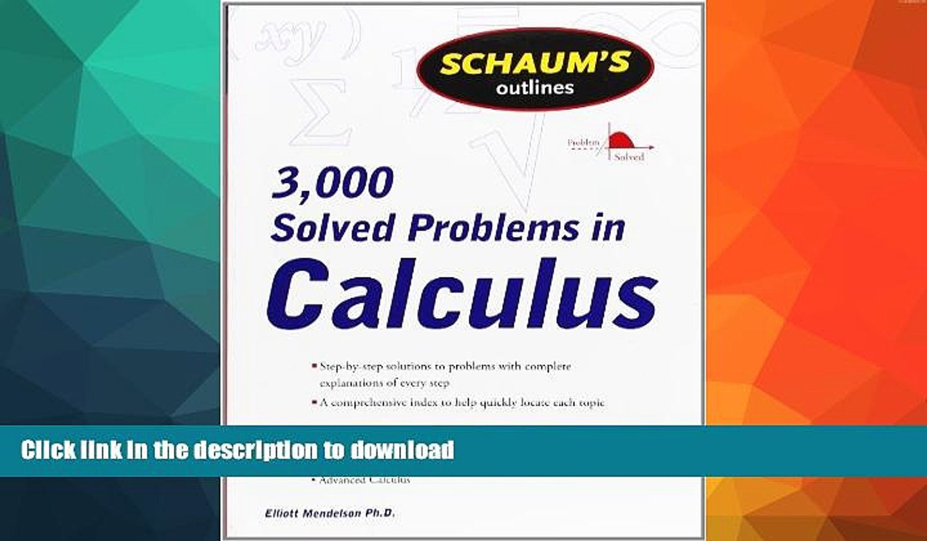 READ Schaum s 3,000 Solved Problems in Calculus (Schaum s Outlines) FULL  ONLINE