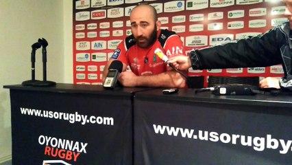 Rugby Pro D2 - Irakli Mirtskhulava réagit après Oyonnax - Aurillac