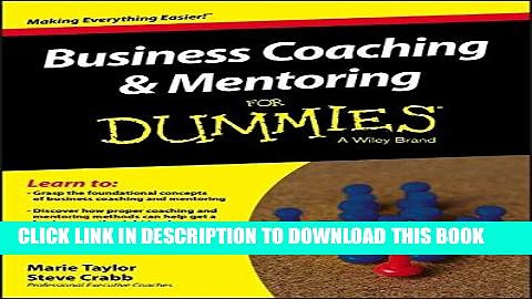 Best Seller Business Coaching and Mentoring For Dummies Free Read