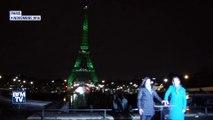 La Tour Eiffel illuminée de vert à l'occasion de l'accord de Paris sur le climat