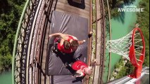 Freestyle Trampoline Slam Dunks on a Train by the Dunking Devils   PEOPLE ARE AWESOME