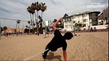 Slackline Tricks and Backflips at Muscle Beach in 4K   PEOPLE ARE AWESOME 2016