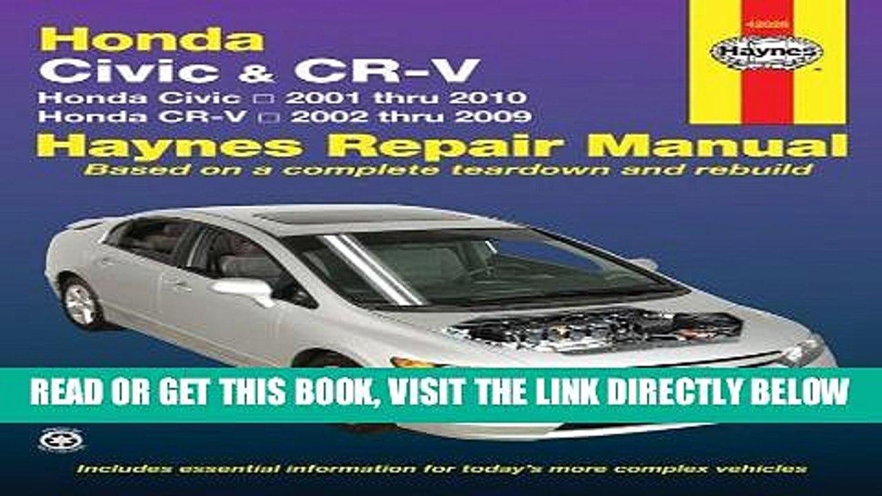 94-01 Civic Integra CR-V Haynes Repair Manual NEW Owners Book Service