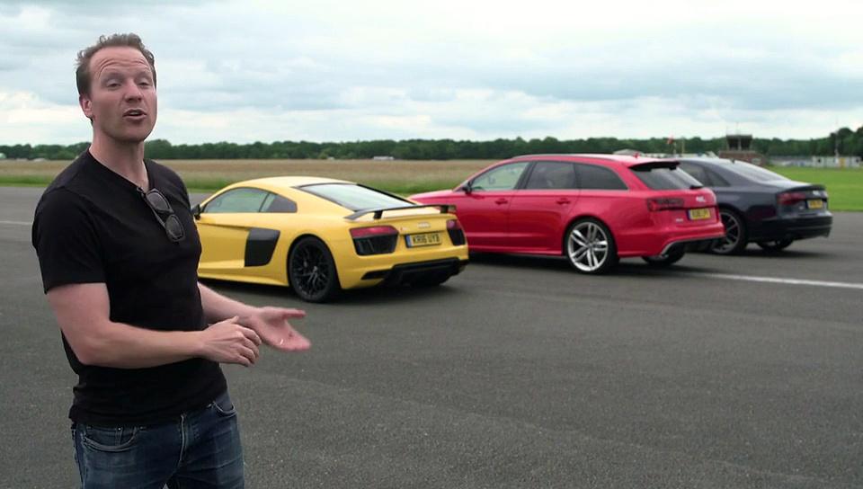 Gara familjare: Audi R8 V10 Plus kundër Audi RS6 kundër Audi S8