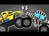 Monster Truck VS Zebra Monster Truck | Monster Trucks | Car Race