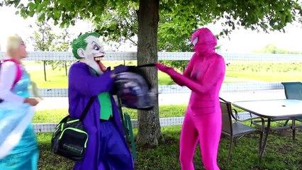Frozen Elsa & Spiderman GO TO SCHOOL! w  Maleficent Pink Spidergirl Joker Candy! Funny Superheroes