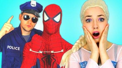 Frozen Elsa LIPSTICK ATTACK! w  Spiderman Maleficent Joker Rapunzel Poison Ivy Toys! Superhero IRL