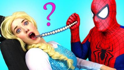 Frozen Elsa's GROSS FEET! w  Spiderman Maleficent Joker Pink Spidergirl Candy! Funny Superhero Video