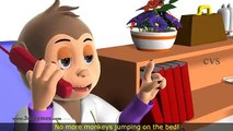 Five Little Monkeys Jumping on the Bed Nursery Rhyme 3D Animation Rhymes for Children