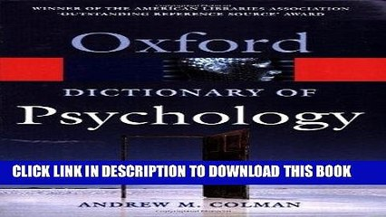 Best Seller A Dictionary of Psychology (Oxford Quick Reference) Free Read