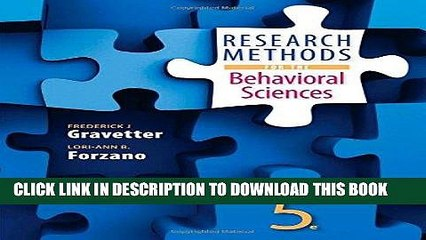 Best Seller Research Methods for the Behavioral Sciences Free Read