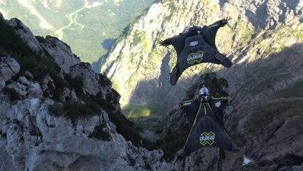Freestyle Wingsuit Flying Above the Dolomites