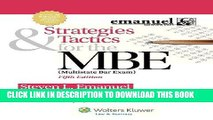 Ebook Strategies   Tactics for the MBE, Fifth Edition (Emanuel Bar Review) Free Read